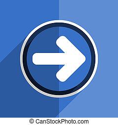 blue flat design right arrow modern web icon