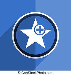 blue flat design star modern web icon