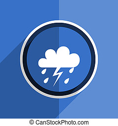 blue flat design storm modern web icon