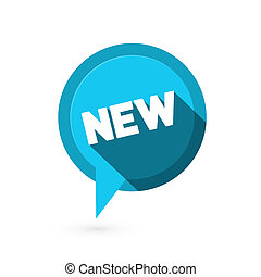 Blue Flat Design Vector Sticker - Label with New Title