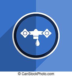 blue flat design water modern web icon