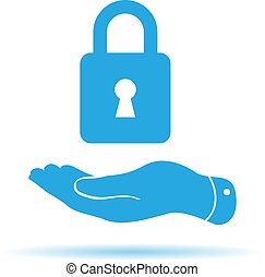 blue flat hand presenting lock icon on a white background