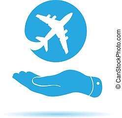 blue flat hand showing airplane icon on a white background
