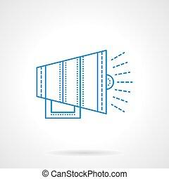 Blue flat line bullhorn vector icon