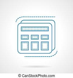 Blue flat line calculator vector icon