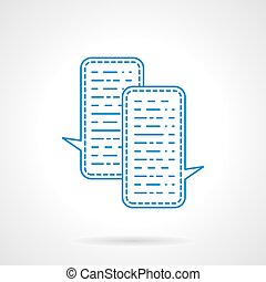 Blue flat line chat vector icon
