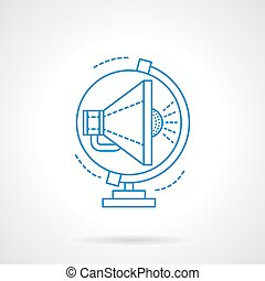 Blue flat line global advertising vector icon