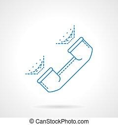 Blue flat line handset vector icon