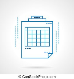 Blue flat line spreadsheet vector icon