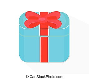 Blue flat present box concept isolated on white