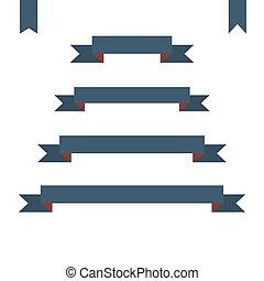 blue flat ribbon banners set. Design vector illustration