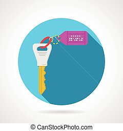 Blue flat vector icon for key tag
