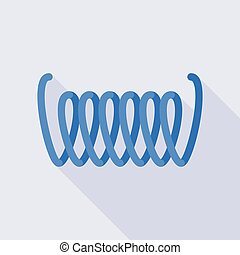 Blue flexible coil icon, flat style