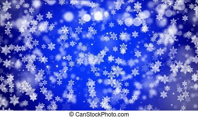 Blue Flickering snowflake random motion of particles. ...