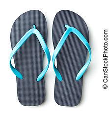 Blue flip flops. - Blue flip flops isolated on white...