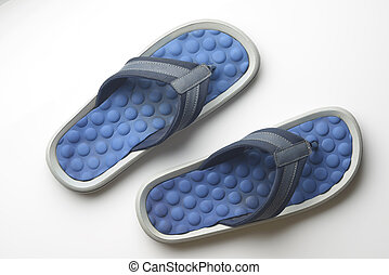 Blue Flipflop on White Background