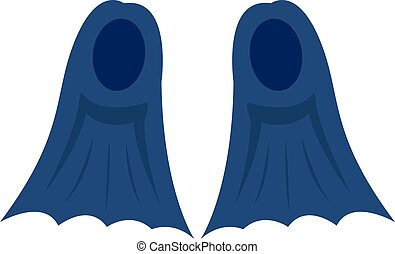 Blue flippers, illustration, vector on white background.