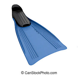 Blue Flippers on the white background isolated