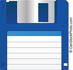 Floppy Disk - Blue Floppy Disk With Blank Label