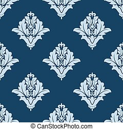 Blue floral arabesque damask pattern