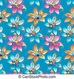 Blue floral background pattern in vector