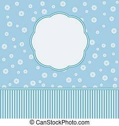 Blue floral border with flowers