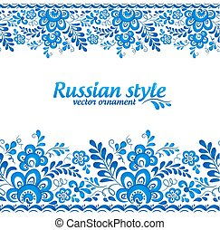 Blue floral borders in Russian gzhel style