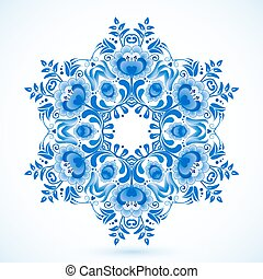 Blue floral circle pattern in gzhel style - Blue vector...