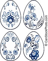 Blue Floral Easter Eggs