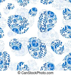Blue floral Easter eggs seamless pattern