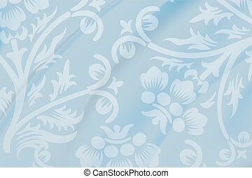 Blue floral fabric wallpaper
