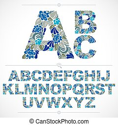 Blue floral font, hand-drawn vector capital alphabet letters decorated with botanical pattern. Ornamental typescript, vintage design lettering.