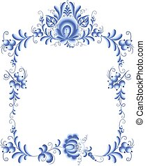 Blue floral frame in gzhel style