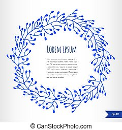 Blue floral frame with place for your text
