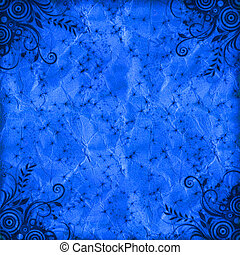 blue floral grunge illustration