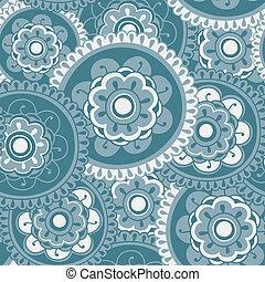 Blue Floral Mandala Seamless Pattern Tile