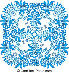 Blue floral ornament in gzhel style
