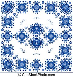 Blue floral ornament on white background
