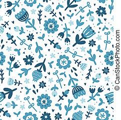 Blue floral print seamless pattern