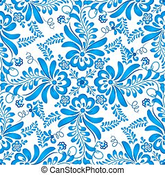 Blue floral seamless pattern in Russian gzhel style