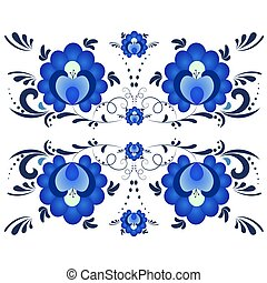 Blue floral textile pattern in Russian style Gzhel.