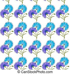 Blue flower cornflower isolated on white background. Cartoon vector centaurea cyanus illustration
