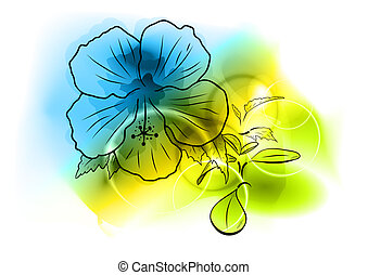blue flower - flower on the abstract background