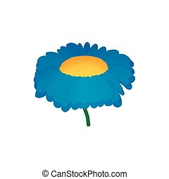 Blue flower icon, cartoon style