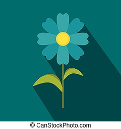 Blue flower icon, flat style