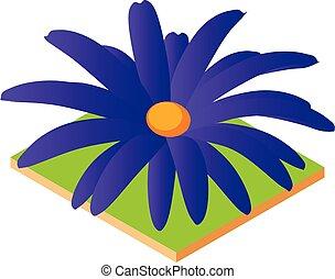 Blue flower icon, isometric style