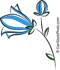 Blue flower, illustration, vector on white background.