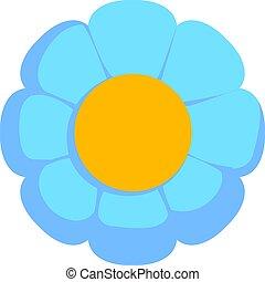 Blue flower, illustration, vector on white background.