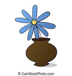blue flower in pot colorized