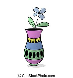 blue flower in vase colorized